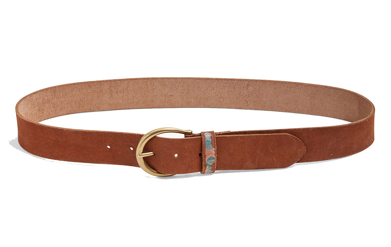 Lucky Brand Women's - Floral Embroidered Suede Belt (Large)