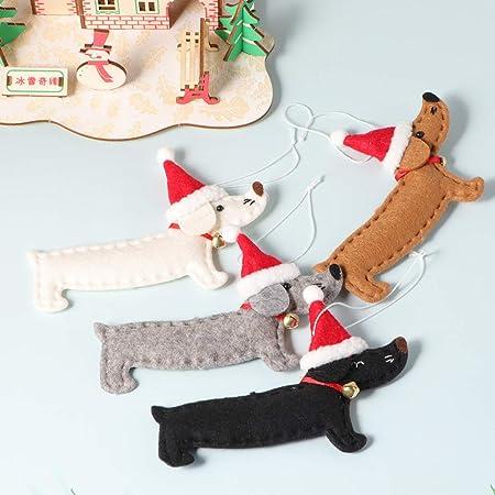 GARNECK 4 Piezas Colgantes de árbol de Navidad portátil Creativo único Perro Salchicha en Forma de Exquisito Suministros de Fiesta Adornos Colgantes