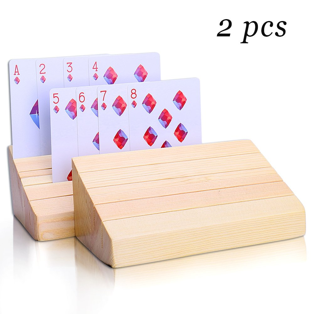 joyoldelf Wooden Playing Cards Holder, Premium Beechwood Poker Rack Trays Perfect for Organizing Cards on Game, Rummy, Party and Match, Set of 2
