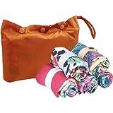 Envirosax Garden Party Pouch, Set of 5 Reusable Shopping Bags w/ Paprika Casing