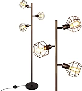 LED Industrial Floor Lamp, Standing Lamp with 3 Adjustable Heads, Tree Floor Lamp, Rustic Floor Lamp, Farmhouse Tall Stand Up Lamps for Living Room, Bedroom, Office, 3 Vintage LED Bulbs Included