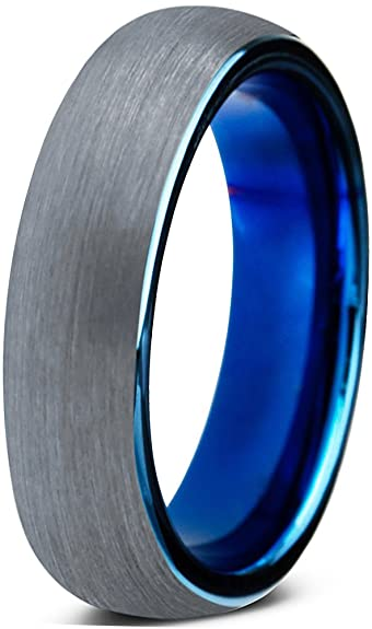tungsten wedding band ring 4mm for men women comfort fit blue round domed brushed size 4