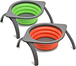 2pcs Collapsible Colander, Storage Basket Drainer for Fruit Vegetable,with Stand and Handle, Over Sink Folding Draining Food-Grade Silicone Kitchen Strainer for Picnic Camping, Green & Orange