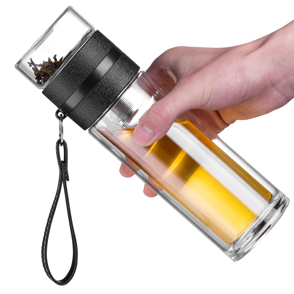 Anroll 13oz Double Wall Glass Water Bottle Tea and Water Separation Tea Bottle Mug Cup with Tea Infuser (Black)