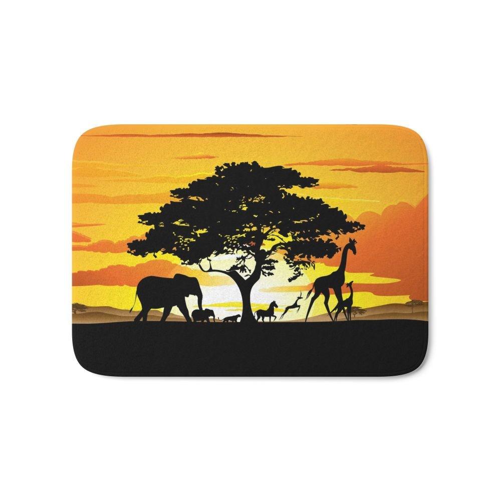 Society6 Wild Animals On African Savanna Sunset Bath Mat 17'' x 24''