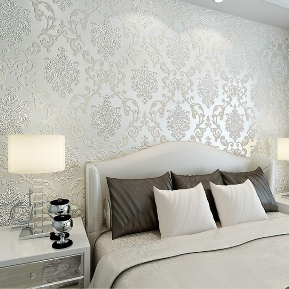 QIHANG European Style Luxury 3D Damask Pearl Powder Non-woven Wallpaper Roll Cream-white Color 0.53m x 10m=5.3㎡