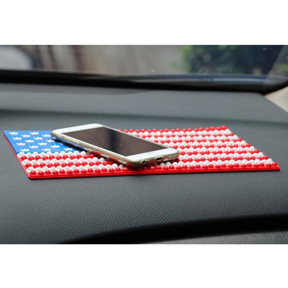 2 Pcs Extra Thick Sticky Anti-Slip Gel Pad American Flag Pattern Coins and More Keys Sunglasses Rubber pad,Premium Universal Non-Slip car Dashboard Mat for Cell Phones
