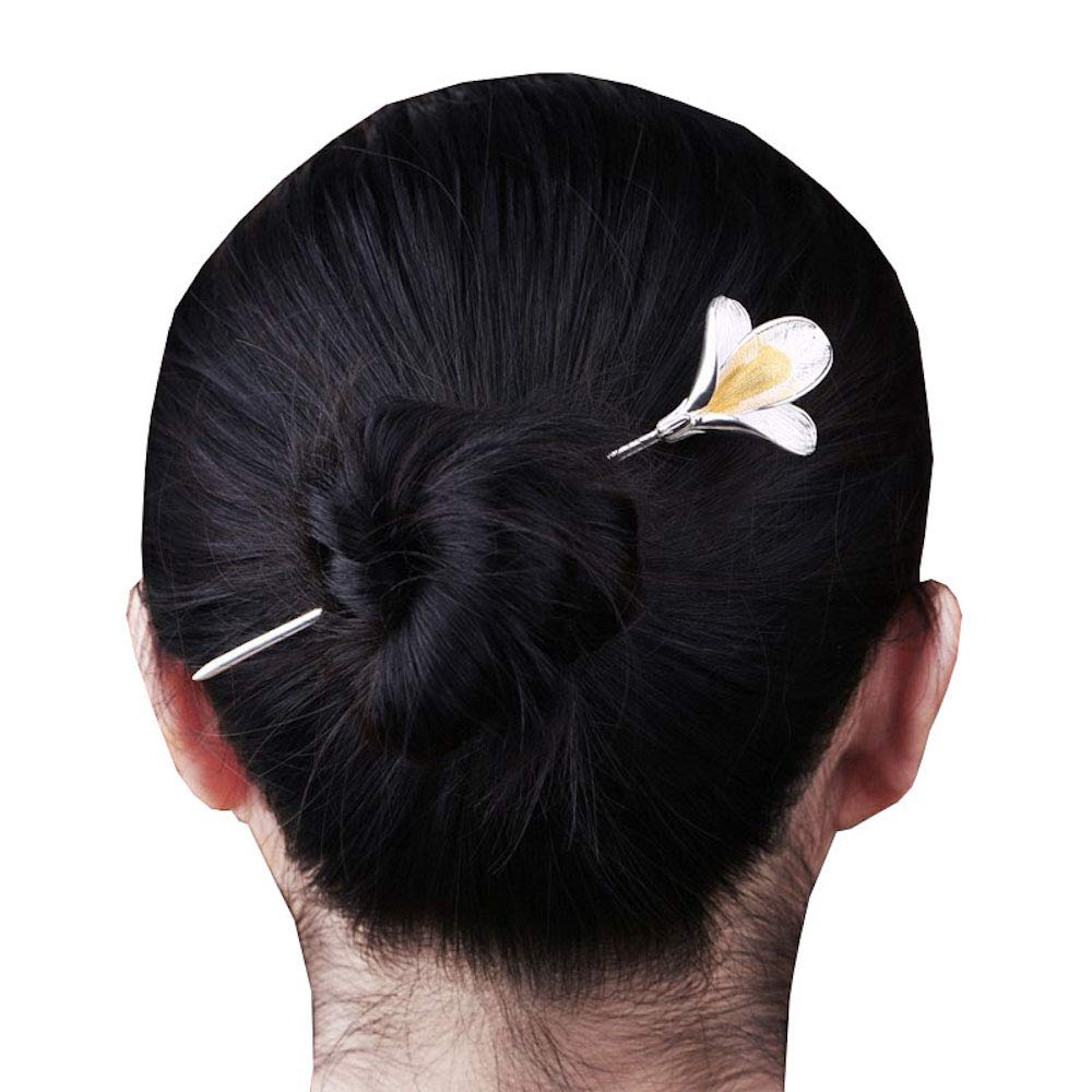 HangErFeng Hair Stick 925 Pure Silver Hairpin Chinese Element Classical Magnolia, Gift Packaging (Silver)