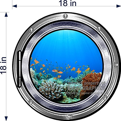 REPOSITIONABLE WALL DECAL PORTHOLE DESIGN CORAL REEF GREAT FOR BEACH ROOM