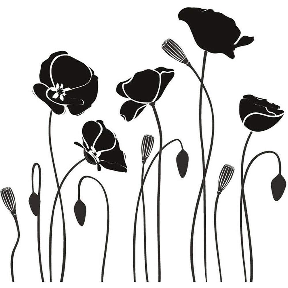 wangpdp Flores de Amapola Flores Etiqueta de la Pared Oficina ...
