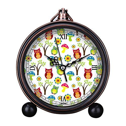 Vintage Retro Living Room Decorative Non-ticking, HD Glass Lens, Easy to Read, Quartz, Analog Large Numerals Bedside Table Desk Alarm Clock-074.Cute Owl Wallpaper Pattern ()