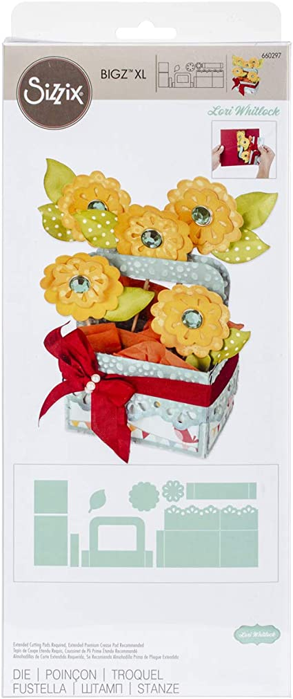 Multicolor Sizzix 663578 Card in a Box Flower Basket Dies One Size