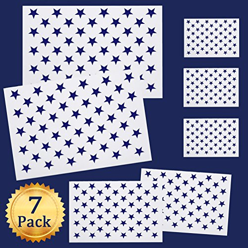 Whaline 7 Pieces American Flag 50 Stars Stencil Template for