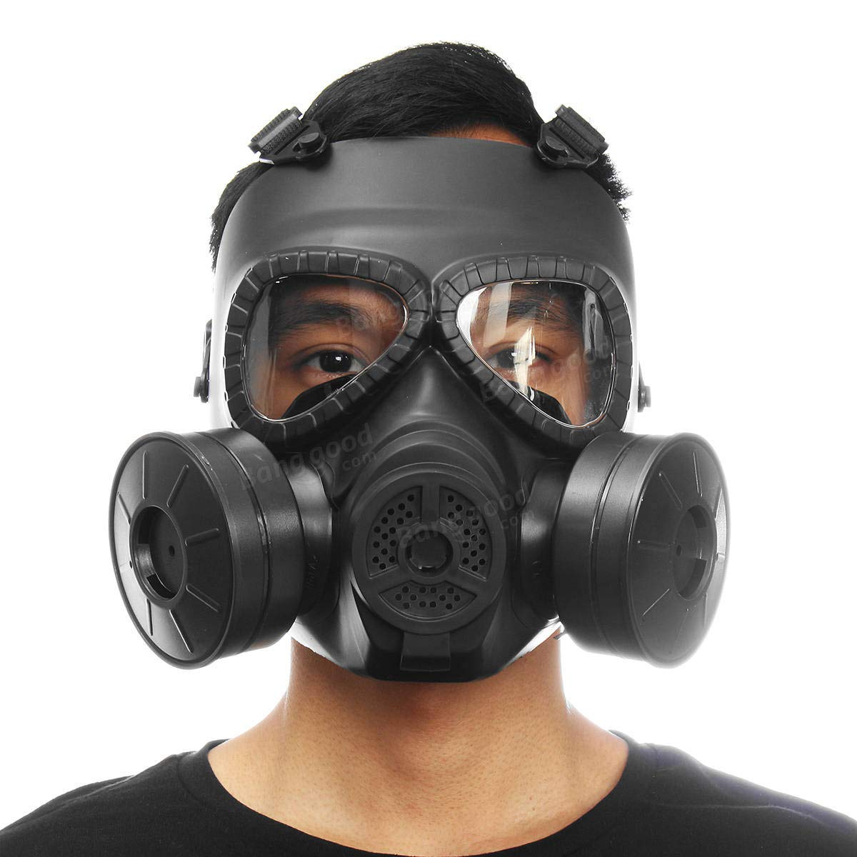 Breathable Gas Mask Double Filter Fan CS Edition Perspiration Dust Face - Safety & Protective Gear Masks - (Black) - 1 x Valve Clamp