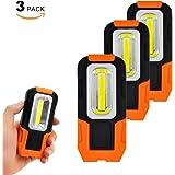 ポータブル 電池式3W COB LED作業用灯 ワーク ライト携帯式 明るい LED 懐中電灯 フラッシュ ライト フックと磁石 付き 3個入
