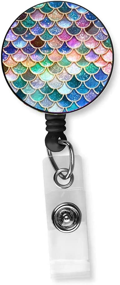 Retractable Badge Holder Pretty Carabiner Reel ID Card Holder Decorative Badge Holder with Alligator Clip Mermaid Colorful
