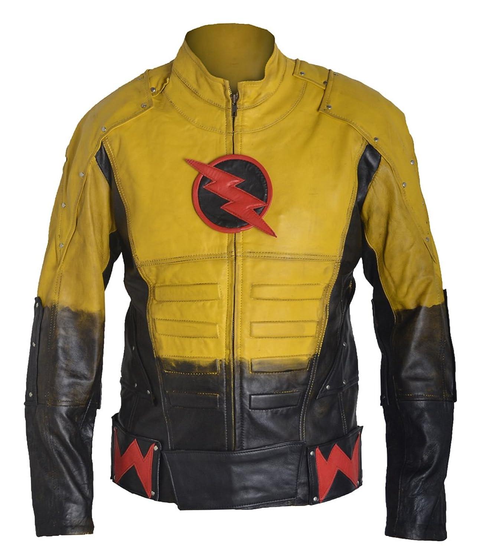 FWL Reverse Flash Waxed Barry Allen Sheep Leather Jacket XXS-5XL Yellow & Black