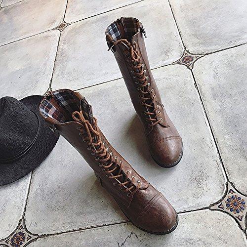 Inverno Stivali Scarpe Elegante Stringate Boots Marrone Plaid Casual Piatto Martin Donna Fodera Vintage Minetom Moda Stivaletti q5TEEw