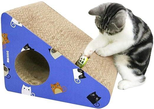 Fuitna - Tabla de rascar para Gatos, Color Azul, Triangular, con rampa de Campanas, Papel Corrugado para Resto, rasguños, Dormir y Jugar Gato – un Gran Regalo para Gatos Mascotas: Amazon.es: Productos