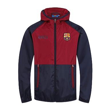 FCB FC Barcelona - Chaqueta Cortavientos Oficial - para niño - Impermeable - Azul Marino/Rojo - 4-5 años