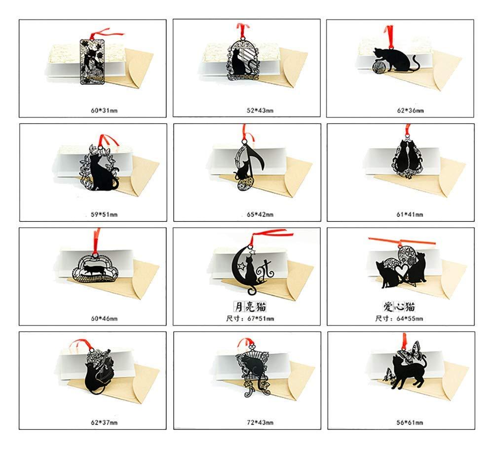 XIAOL Home Starte 10pcs Divertente segnalibro in Metallo Nero con Cinturino Rosso Come Regalo per Gli Amanti dei Gatti
