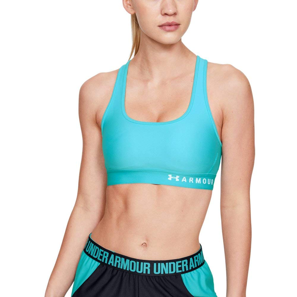 Under Armour Women's Armour Mid Crossback Sports Bra, Breathtaking Blue (400)/Onyx White, X-Small by Under Armour