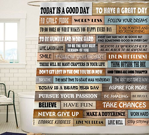 Sunlit Inspirational Motivational Happiness Quotes For Courage Be Awesome Poster Print Rustic Cabin Shower Curtain Teak Closet Curtain Home Bathroom Decor Fabric