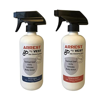 Arrest My Vest Odor Eliminating Spray for Body Armor, K-9's and Vehicles 2 16 oz Bottles, 1 Midnight Fragrance and 1 Unscented. Completely Safe on All Body Armor, Fabrics, Upholstery and Leather: Home & Kitchen