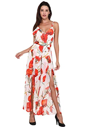 58b2a2c8f64 Glamaker Women s Summer Chiffon Floral V Neck Strap Wide Leg Long Jumpsuit  Rompers with Slits White