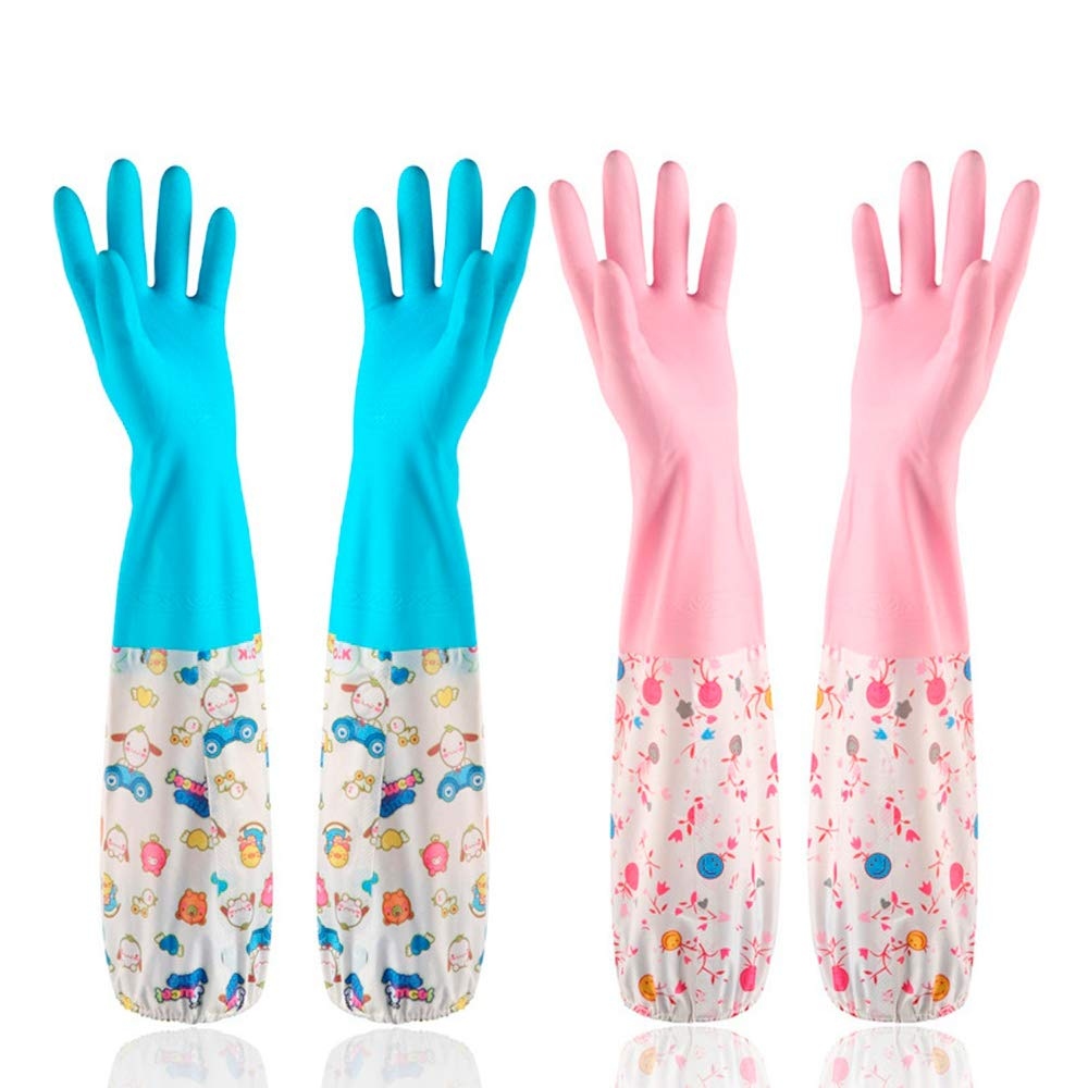 2pairs Household Rubber Latex Cleaning Gloves , Latex Waterproof gloves suitable for Women - Cleaner & Healthier (Long)