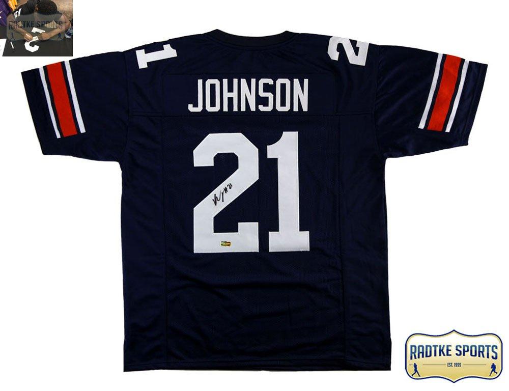 reputable site 08c3b 518b8 Kerryon Johnson Autographed/Signed Auburn Custom Blue Jersey ...