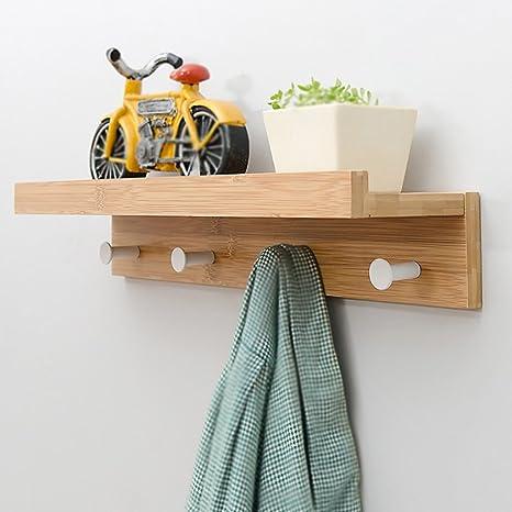 Amazon.com: lxla- estante perchas perchero Hook Up de madera ...