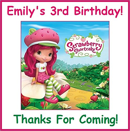 (12 Strawberry Shortcake inspired PERSONALIZED Stickers, Goody Bag Labels, Birthday, Decorations, Treat Bag Labels)