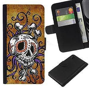 Be-Star la tarjeta de Crédito Slots PU Funda de cuero Monedero caso cubierta de piel Sony Xperia Z4v / Sony Xperia Z4 / E6508 ( Skull Octopus Floral Gold Purple )