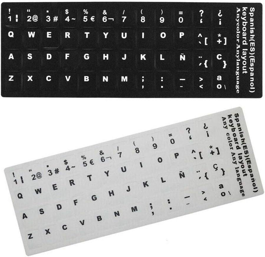 Pukido 1pcs Spanish Espanol Language Keyboard Sticker Layout Button Letters Alphabet for Universal Computer Keyboard Protective Film Plug Type: black background