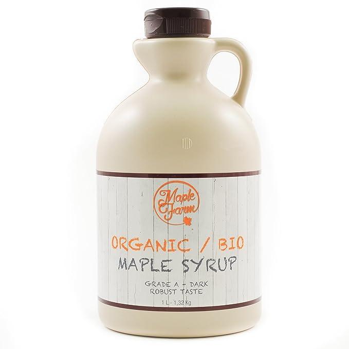 Jarabe de arce BIO - Grado A (Dark, Robust taste) - 1 litro (1,35 ...