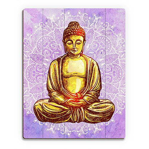 Gold Yellow Gautama Buddha on White Mandala with Purple Watercolor Background Wall Art