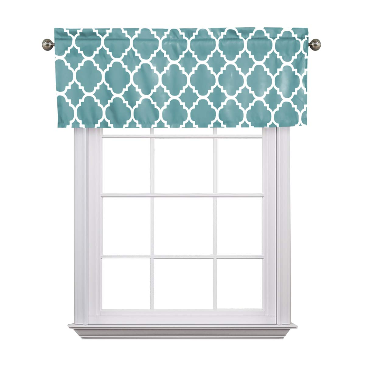 Flamingo P Moroccan Teal Valance Curtain Extra Wide and Short Window Treatment for for Kitchen Living Dining Room Bathroom Kids Girl Baby Nursery Bedroom 52'' X18''