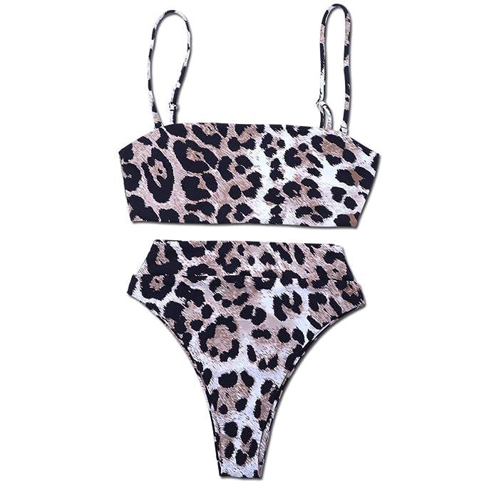 8e833447344f2 Amazon.com  Dimplee Leopard Bikini Set Tie Dye Adjustable Strap Padded High  Leg Bottoms High Waist Printed Band Swimwear  Clothing