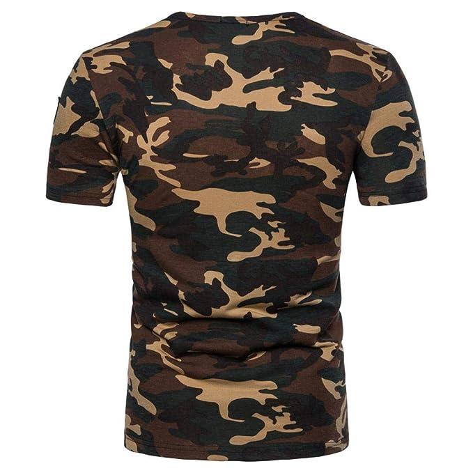 Resplend Camiseta de Manga Larga con Cuello en V y Estampado de Camuflaje Casual para Hombre