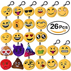 Aresmer 26 Pack Emoji Keychain Mini Plush Pillow Toy Keychain Decorations Party Supplies Favors for Kids, 2-Inch Set of 26 by AIMA