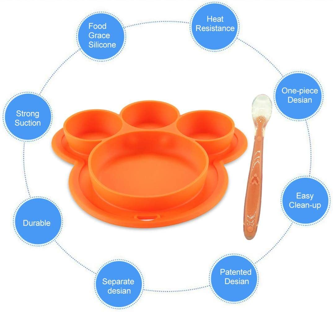 Volwco Baby Feeding Set Portable Silicone Bowls with Strong Suction Kids and Toddlers Divided Section Table Mat for Highchair and Travel Non-Slip Divided Plates and Spoon