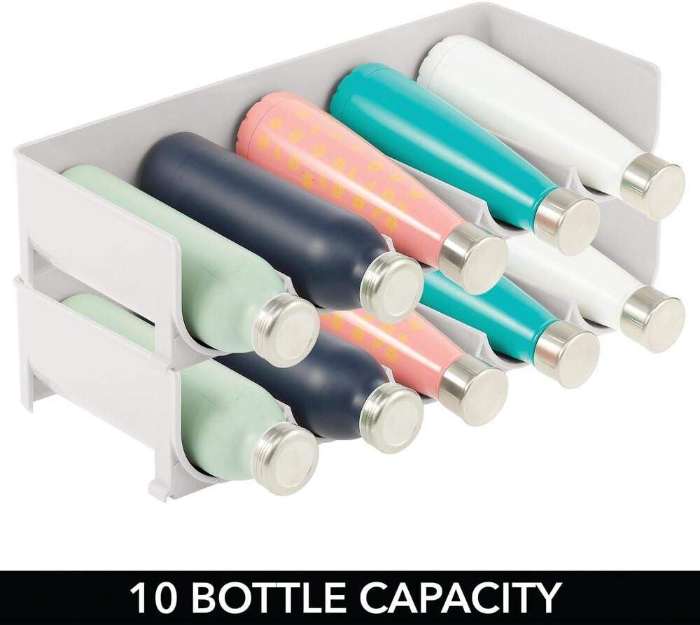 mDesign Set of 2 Stackable Bottle Shelf – Practical Plastic Wine Shelf for up to 5 Bottles – Handy Shelf for Wine Bottles or Other Drinks – Cream Stone