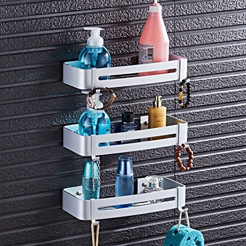 outlet EQEQ The Place of The Aluminum Bath Rooms Rack Shelf Bathroom Square Coin Shopping Cart Punch, 32.5 cm