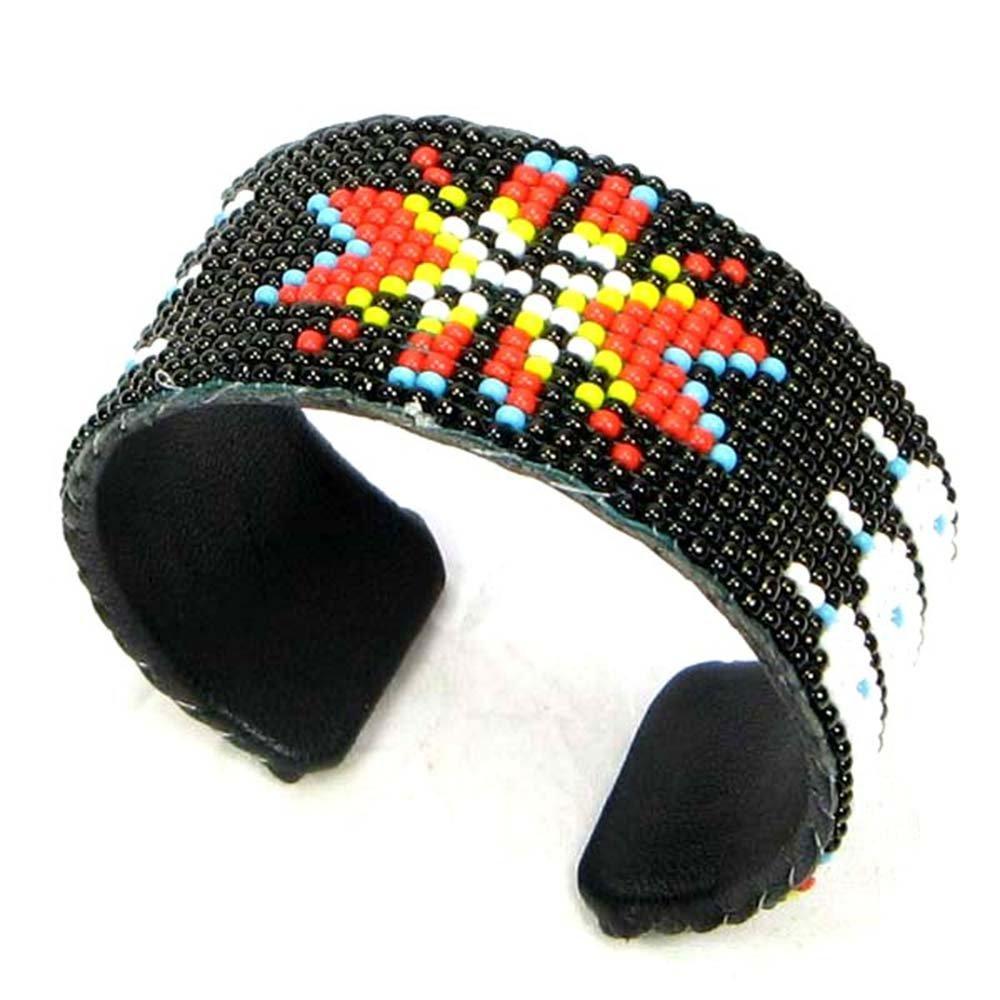 Handmade Black Fire Star Bead Work Hard Cuff Leather Bracelet Unisex Cowboy Western B30//7