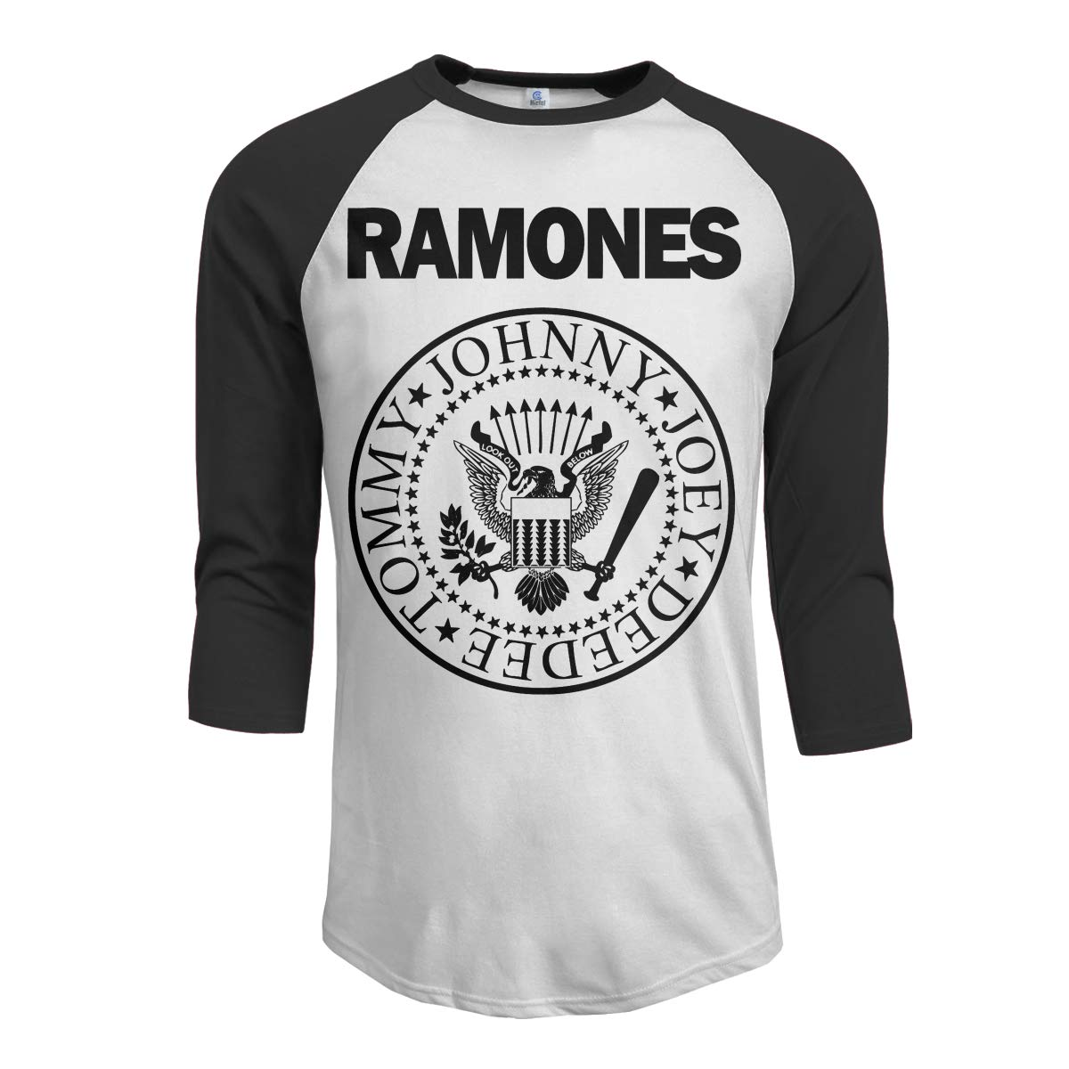 JeremiahR Ramones Men's 3/4 Sleeve Raglan Baseball Tshirts Black