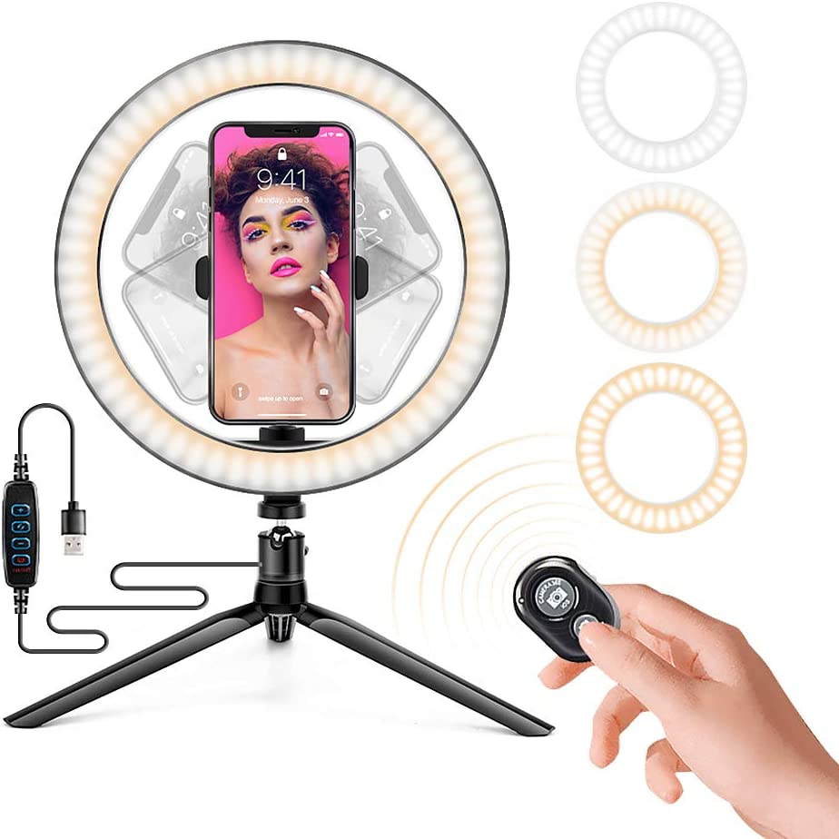 Ring Light with Stand OEBLD Dimmable Desk Selfie Ring Light with Phone Holder for Video Photography Remote Control for Makeup Live Streaming YouTube Lighting (D(10.2''Ring Light & Tripod))