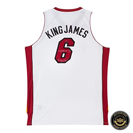 f0a1a9ff637 LeBron James Autographed Signed Miami Heat White Swingman Nickname Jersey  with  quot King James quot