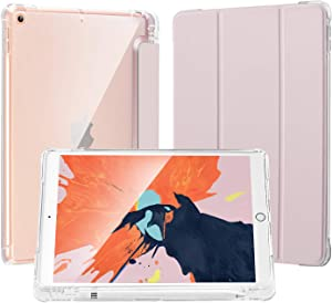 LovRug Compatible for iPad 8/7th Generation Case(2020/2019), iPad 10.2 Case with Apple Pencil Holder,Light Weight Soft TPU Translucent Frosted Back Smart Cover Cases [Full Protective] (Pink)