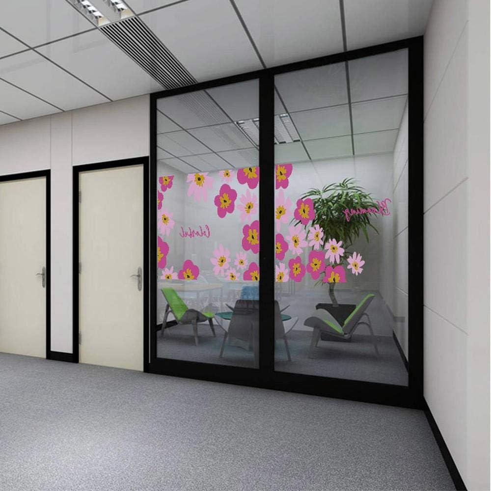 PVCOLL Empresa Oficina Sala de reuniones Puerta corredera tabique de Vidrio anticolisión película Decorativa película electrostática Transparente Flores Rojas: Amazon.es: Hogar
